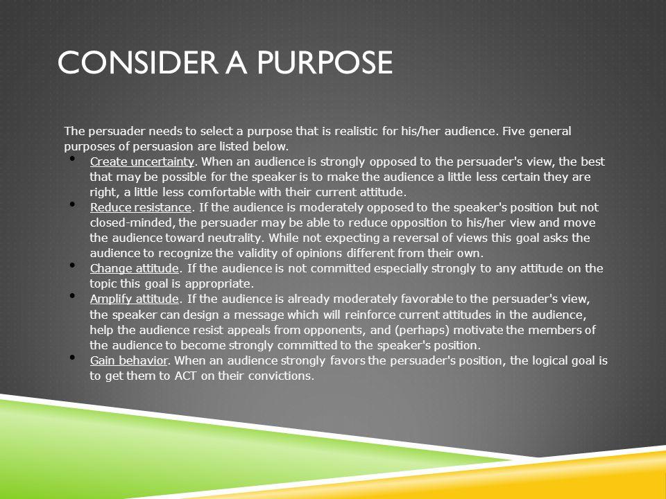 Consider a Purpose