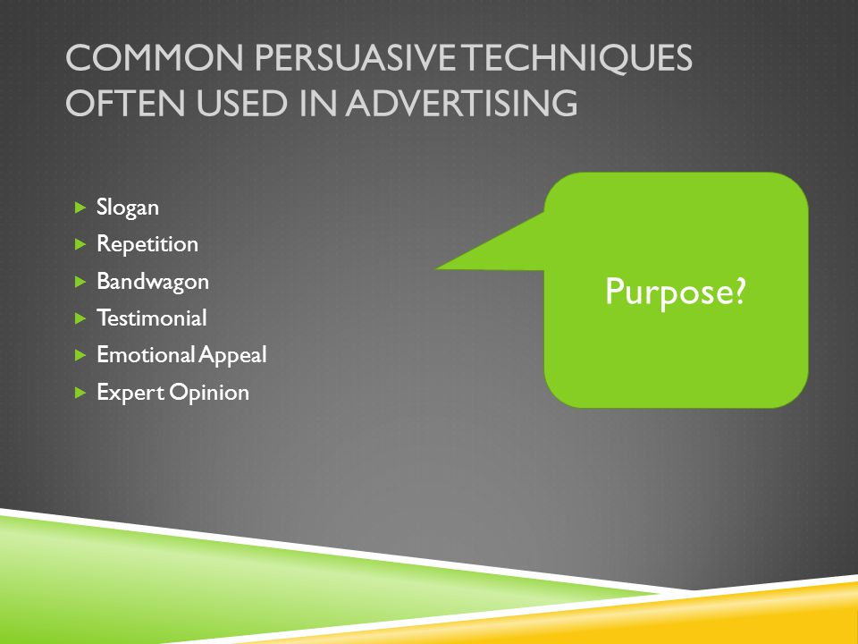 Common persuasive techniques often used in advertising