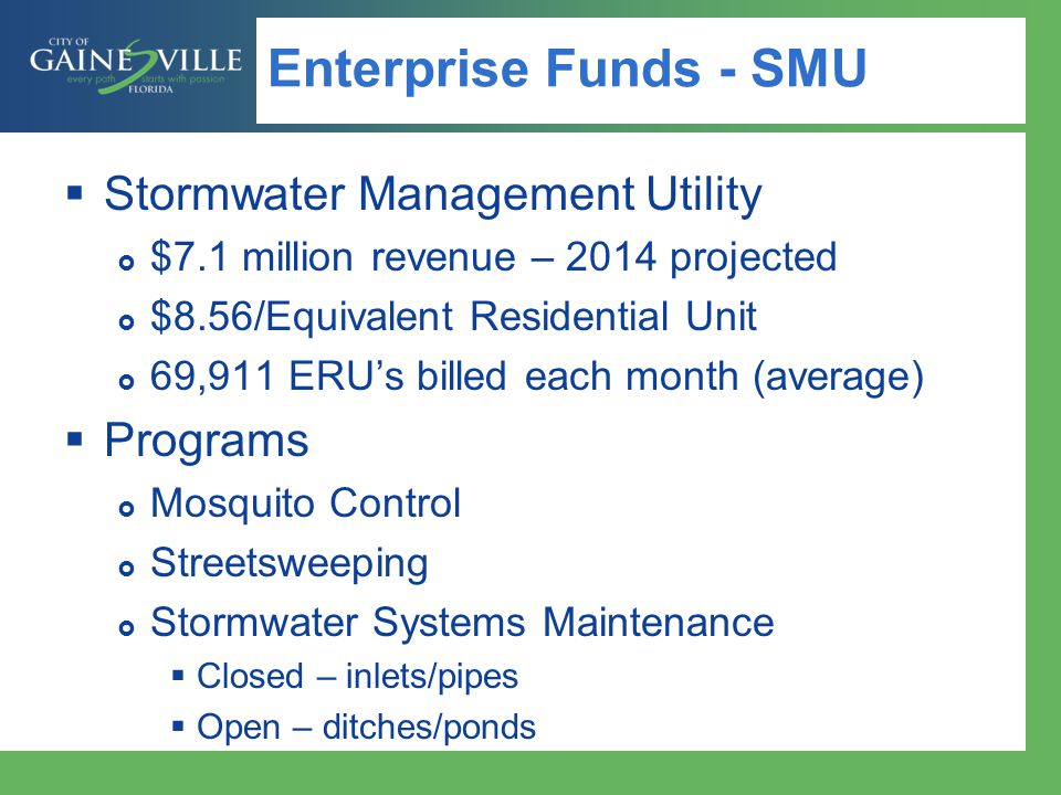 Enterprise Funds - SMU Stormwater Management Utility Programs