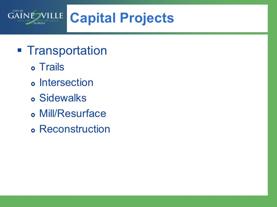 Capital Projects Transportation Trails Intersection Sidewalks