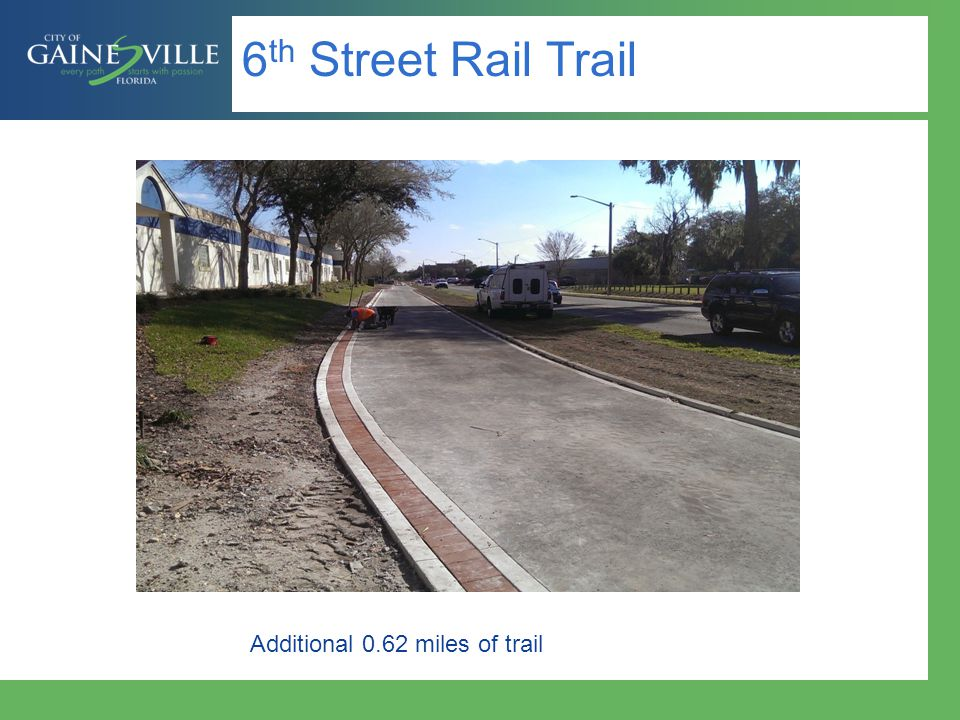 6th Street Rail Trail Additional 0.62 miles of trail
