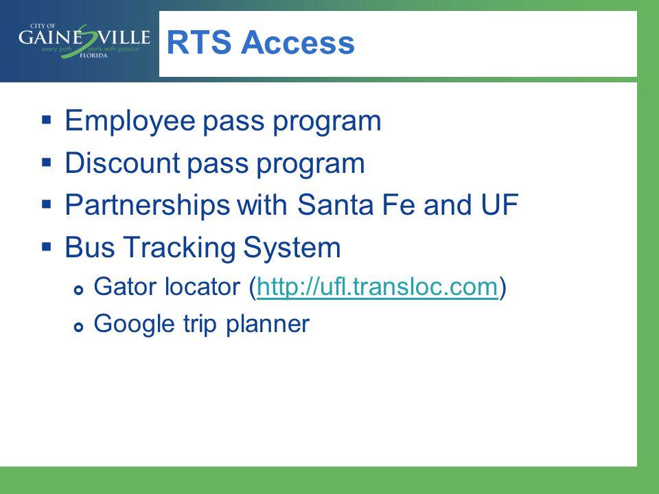 RTS Access Employee pass program Discount pass program