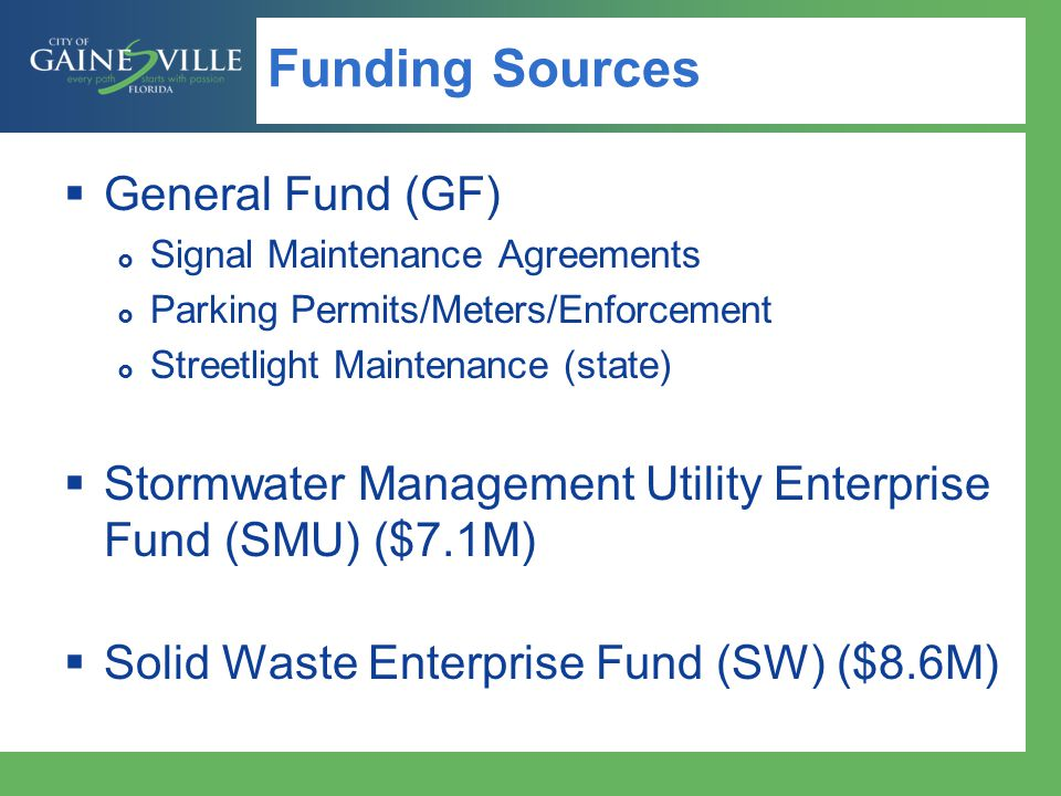 Funding Sources General Fund (GF)