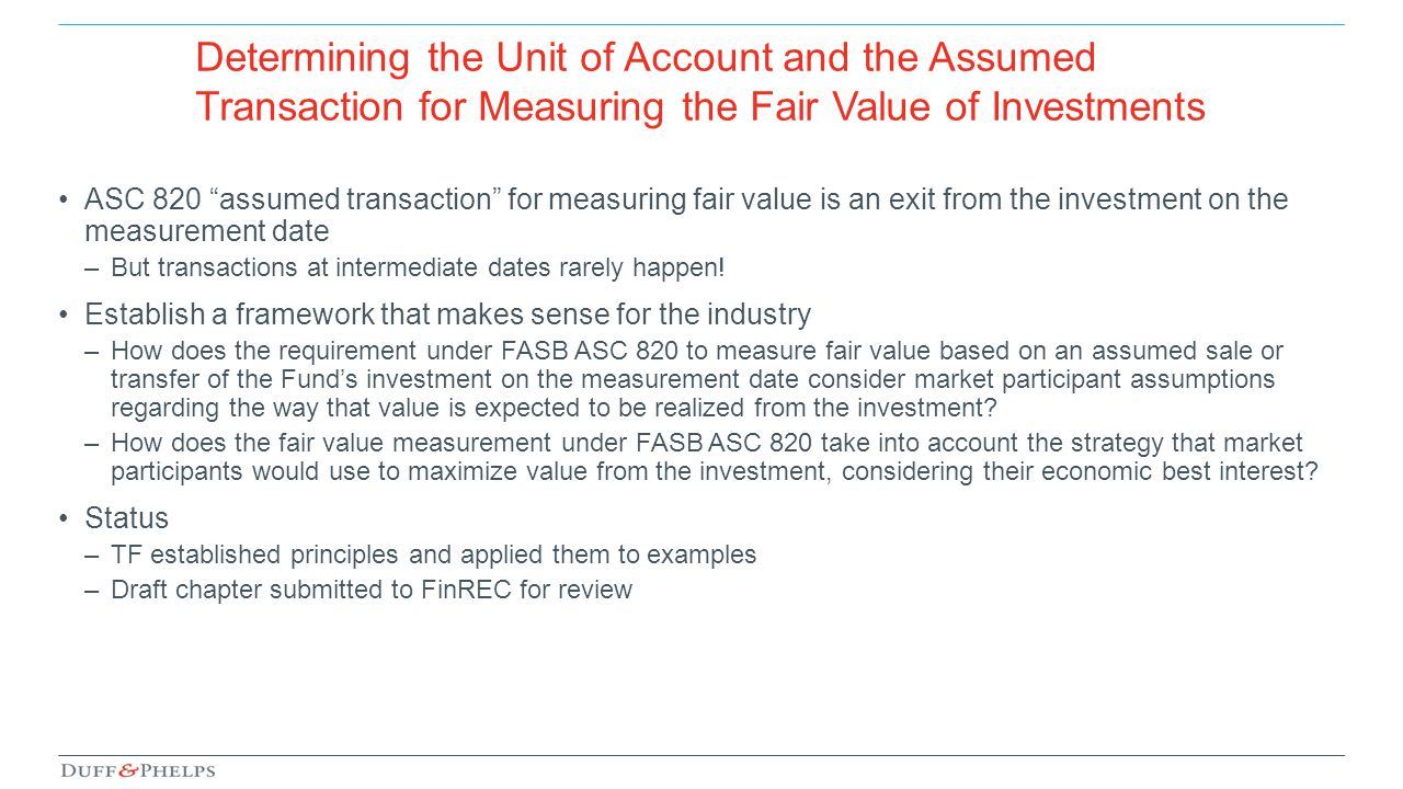 Determining the Unit of Account and the Assumed Transaction for Measuring the Fair Value of Investments