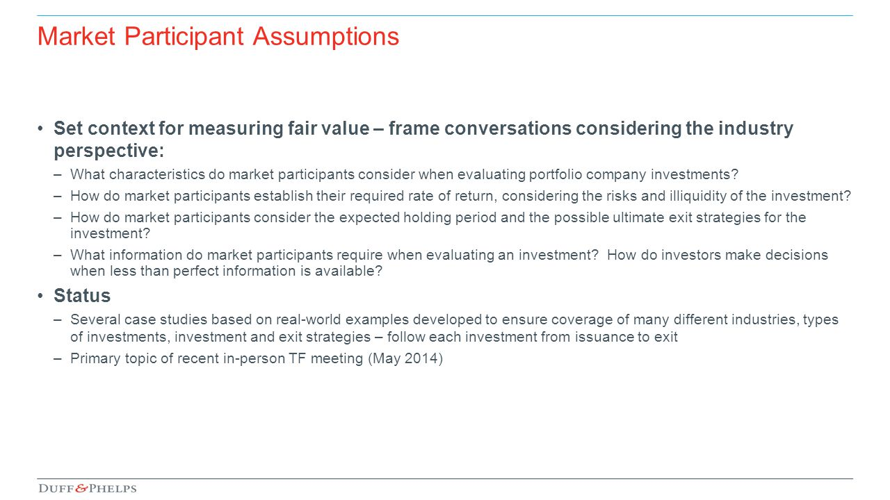 Market Participant Assumptions