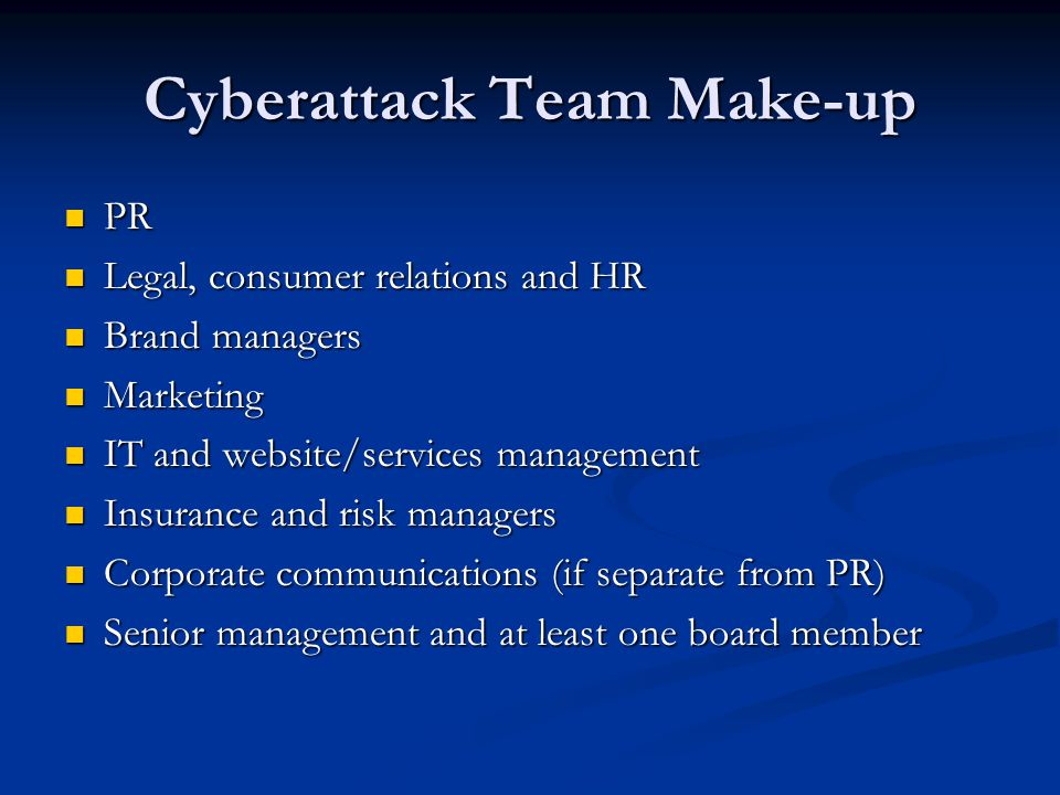 Cyberattack Team Make-up
