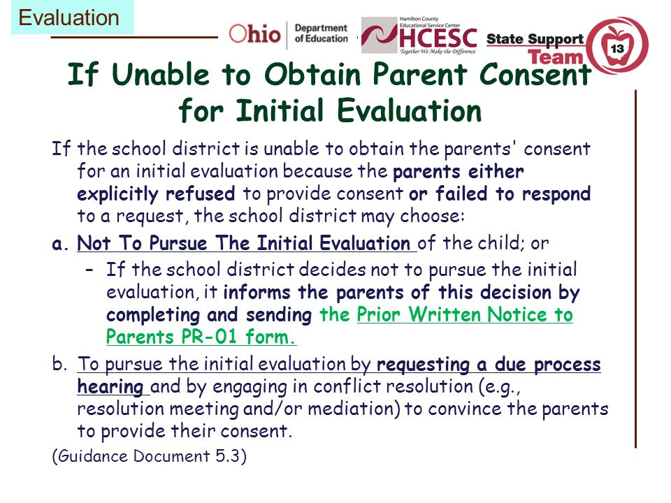 If Unable to Obtain Parent Consent for Initial Evaluation