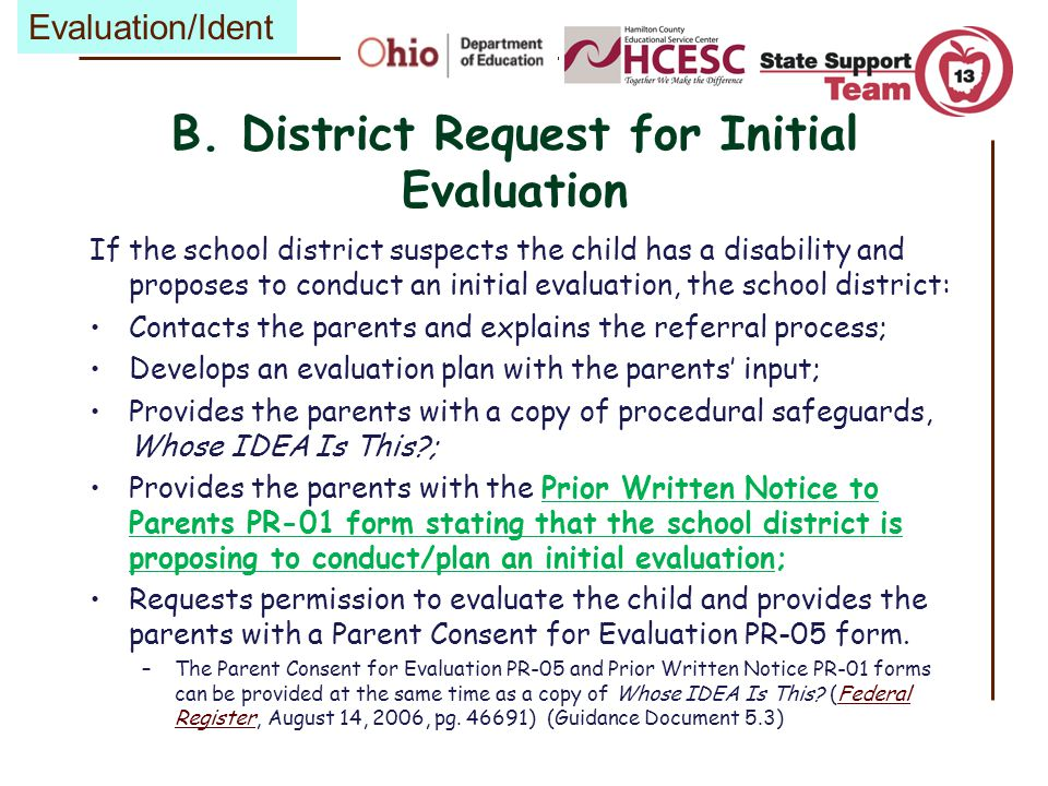 B. District Request for Initial Evaluation
