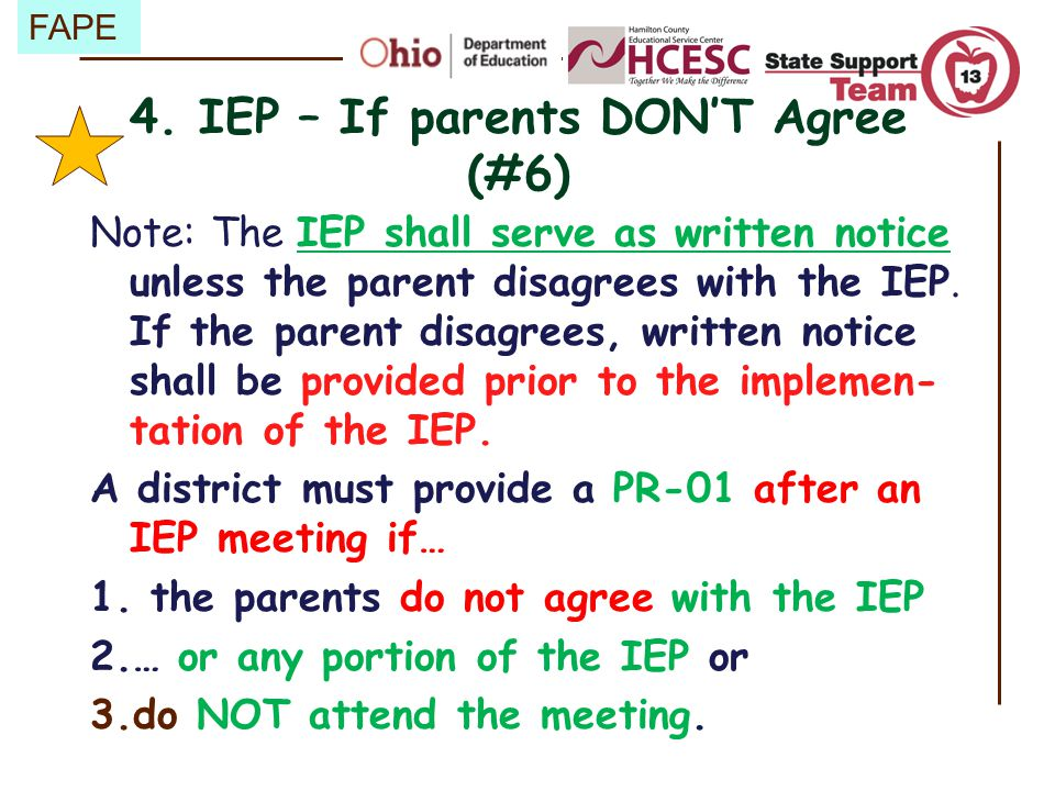 4. IEP – If parents DON'T Agree (#6)
