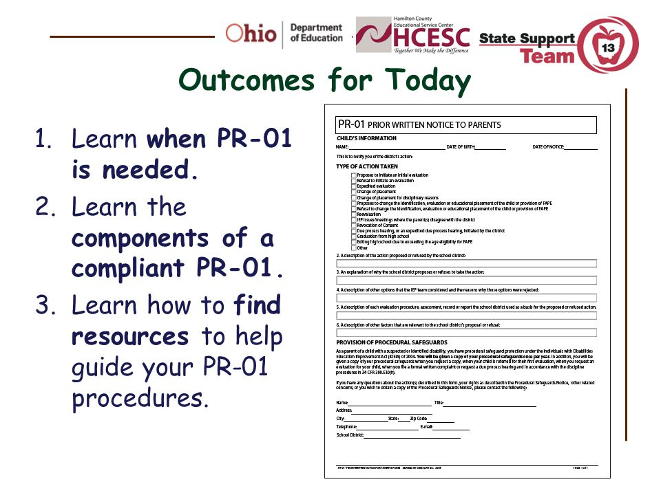 Outcomes for Today Learn when PR-01 is needed.