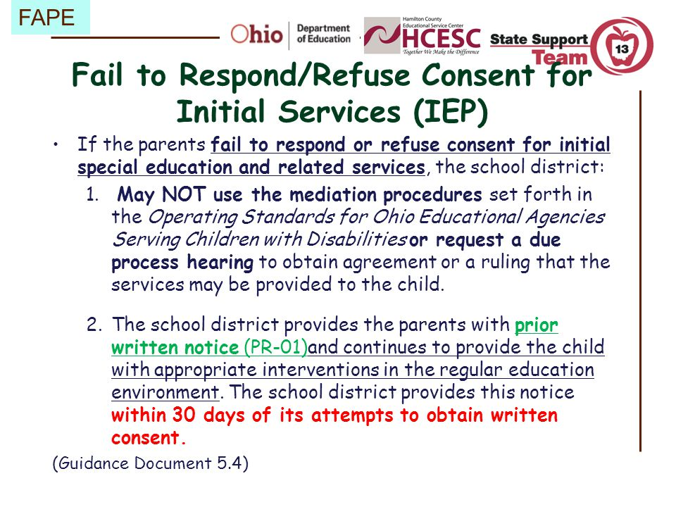 Fail to Respond/Refuse Consent for Initial Services (IEP)