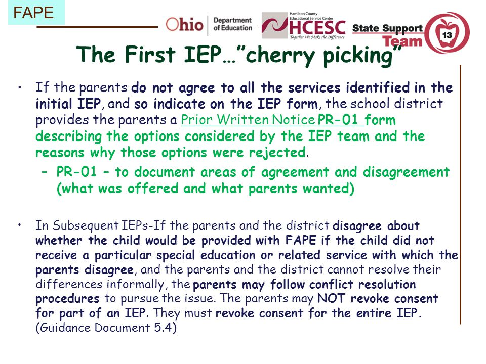 The First IEP… cherry picking