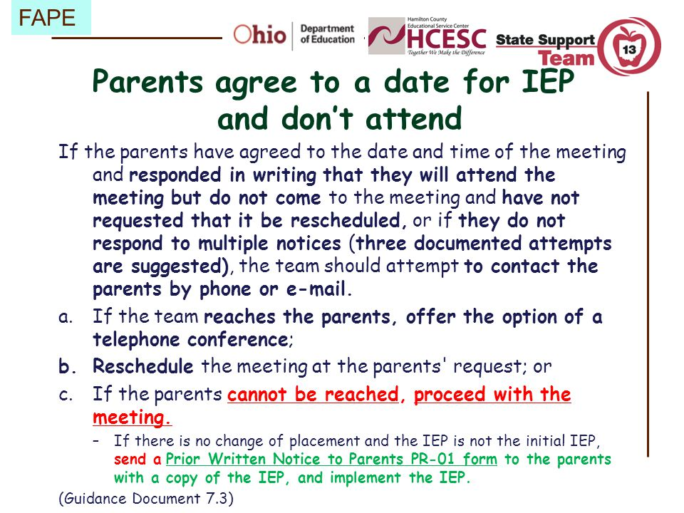 Parents agree to a date for IEP and don't attend