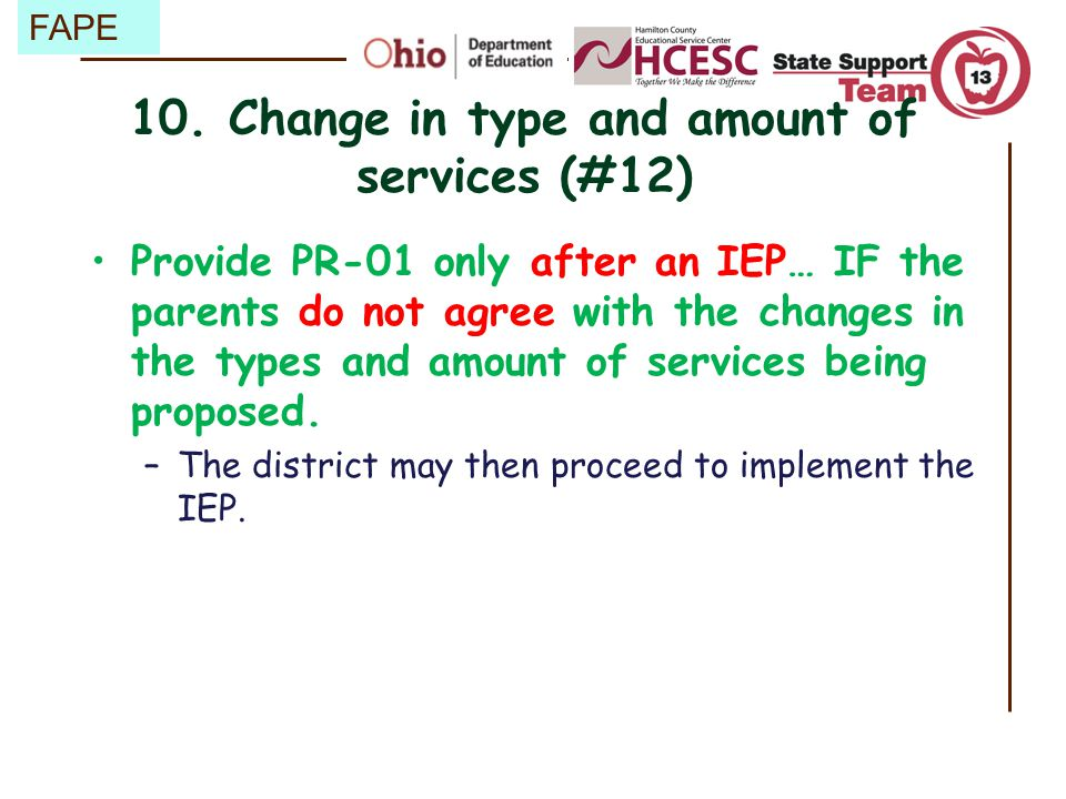10. Change in type and amount of services (#12)