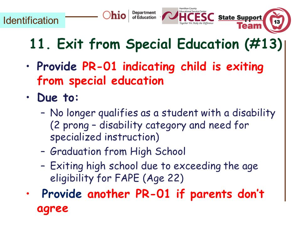 11. Exit from Special Education (#13)