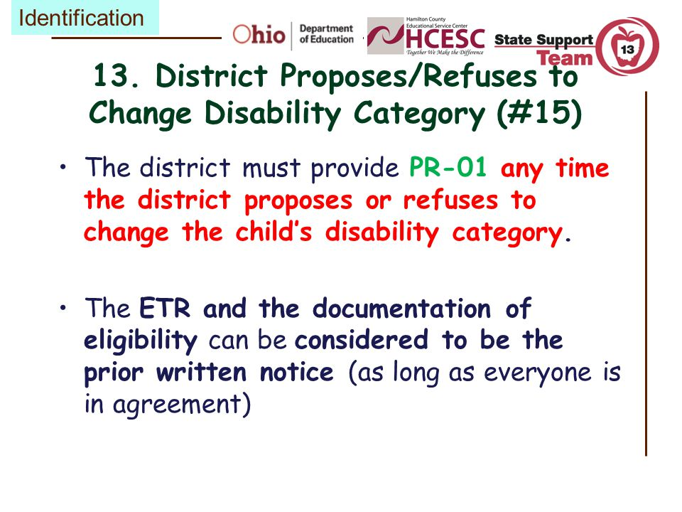 13. District Proposes/Refuses to Change Disability Category (#15)