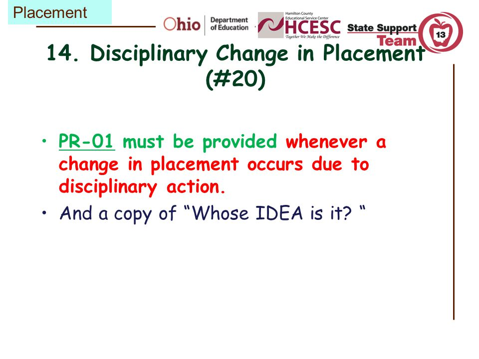 14. Disciplinary Change in Placement (#20)