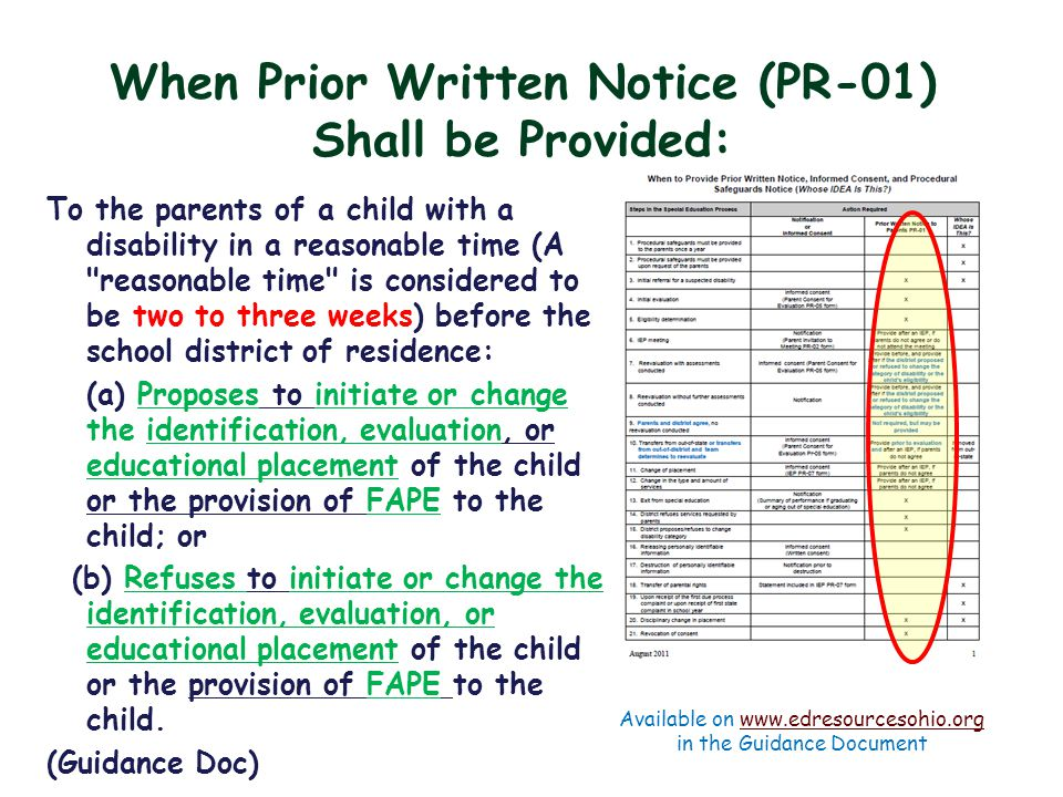 When Prior Written Notice (PR-01) Shall be Provided: