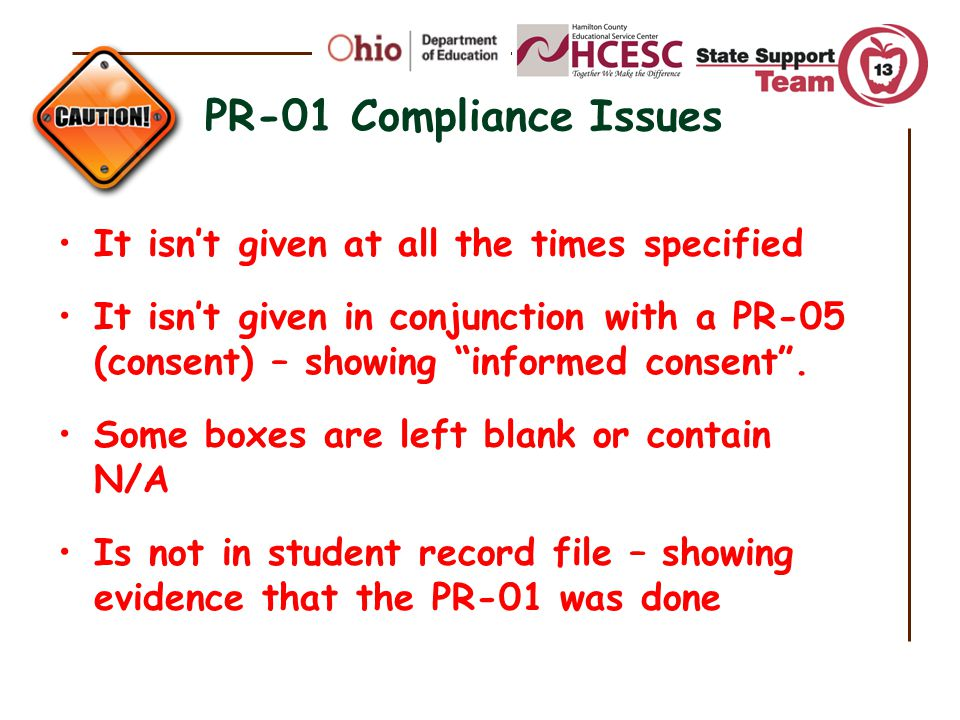 PR-01 Compliance Issues It isn't given at all the times specified