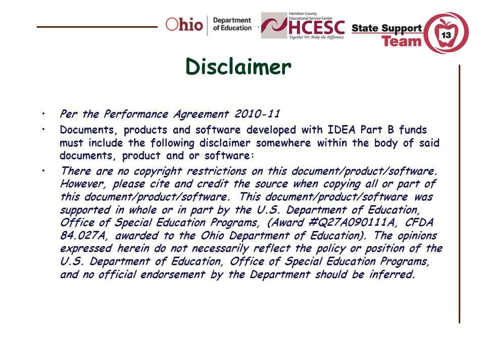 Disclaimer Per the Performance Agreement 2010-11