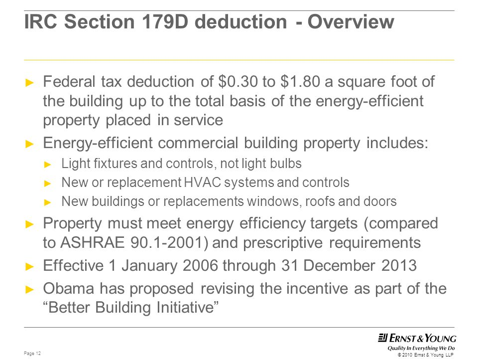 IRC Section 179D deduction - Overview