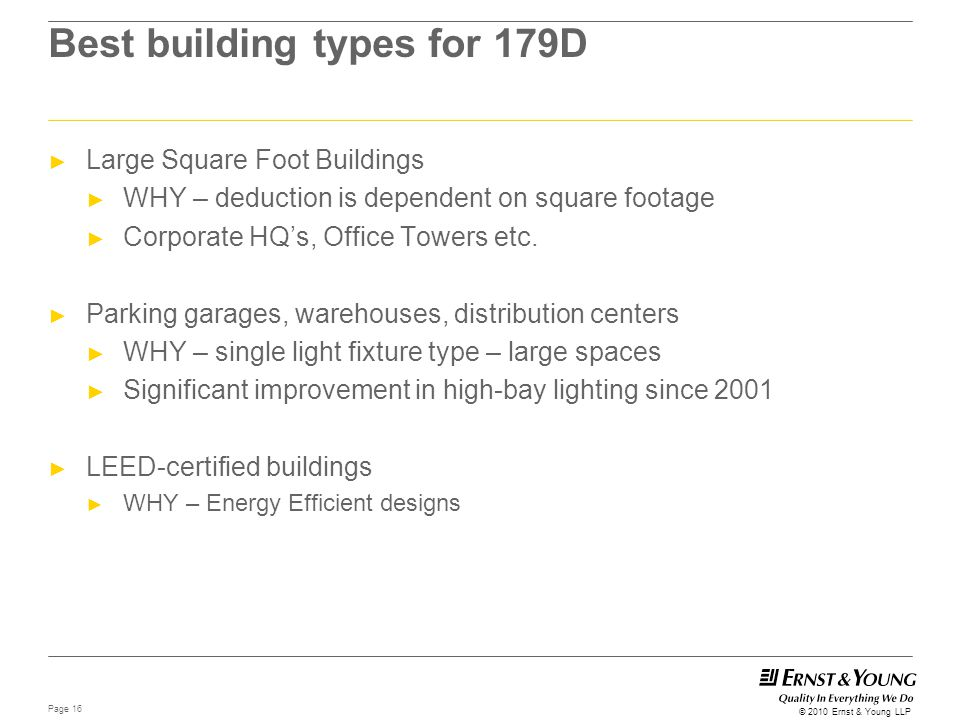 Best building types for 179D