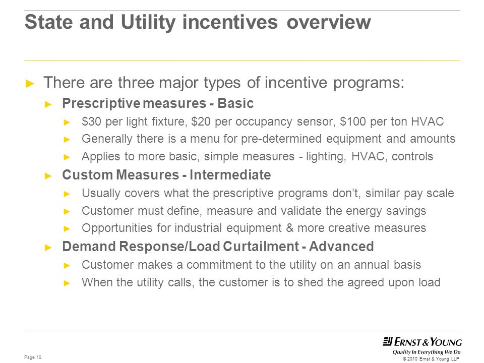 State and Utility incentives overview