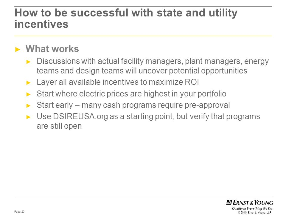 How to be successful with state and utility incentives