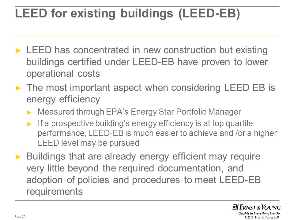 LEED for existing buildings (LEED-EB)