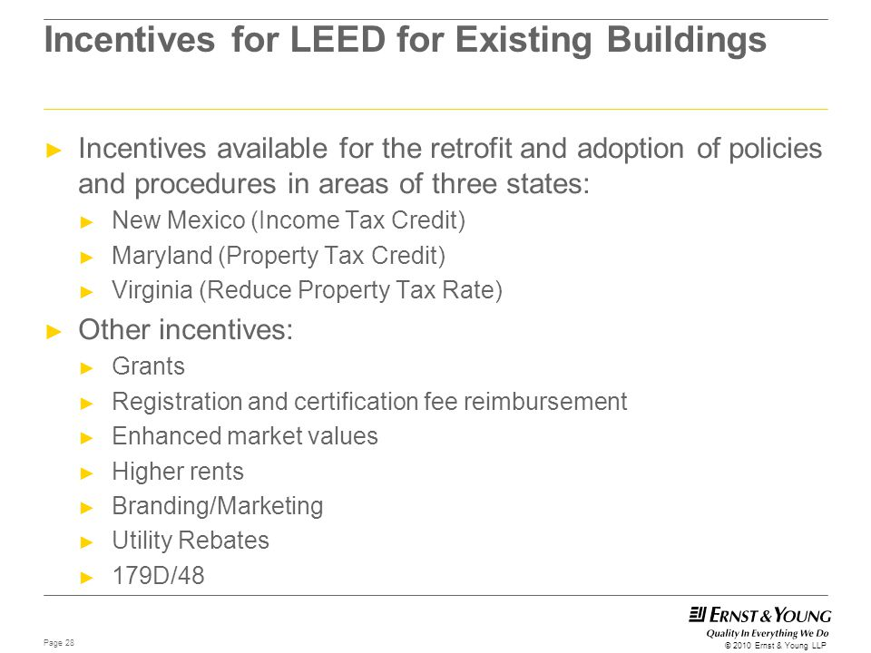 Incentives for LEED for Existing Buildings