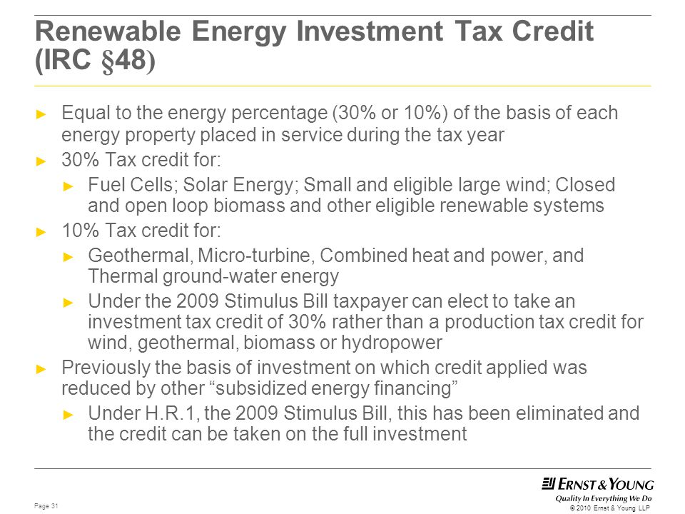 Renewable Energy Investment Tax Credit (IRC §48)