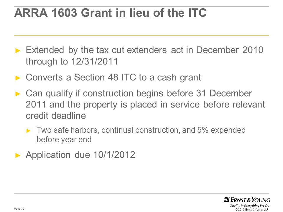 ARRA 1603 Grant in lieu of the ITC