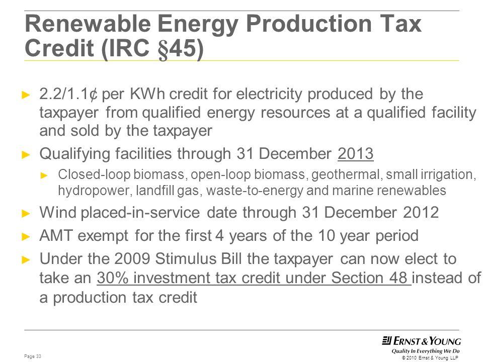 Renewable Energy Production Tax Credit (IRC §45)