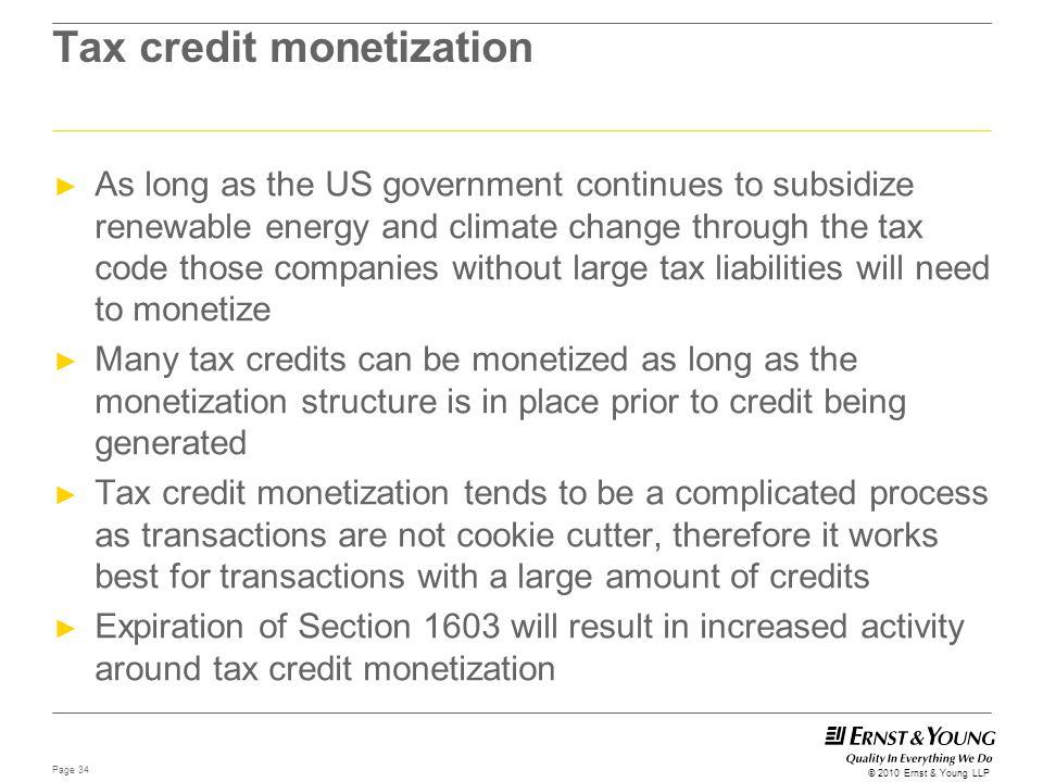 Tax credit monetization