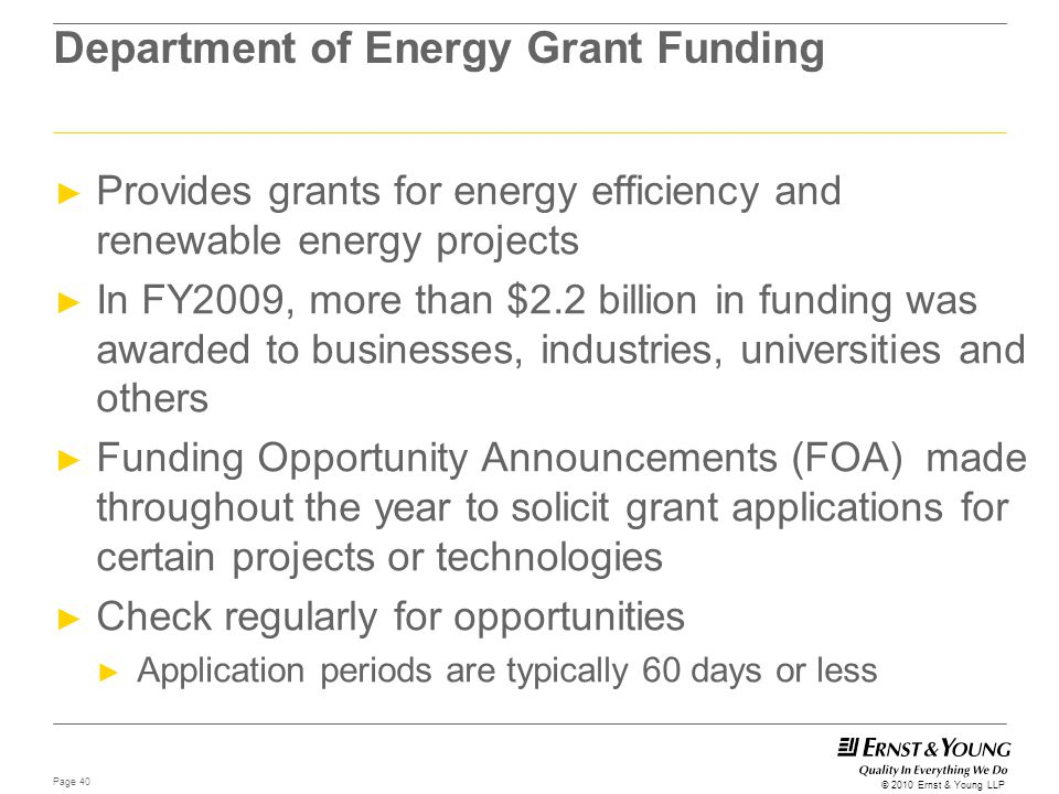 Department of Energy Grant Funding