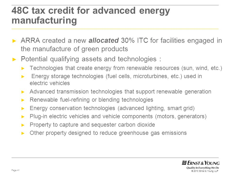 48C tax credit for advanced energy manufacturing