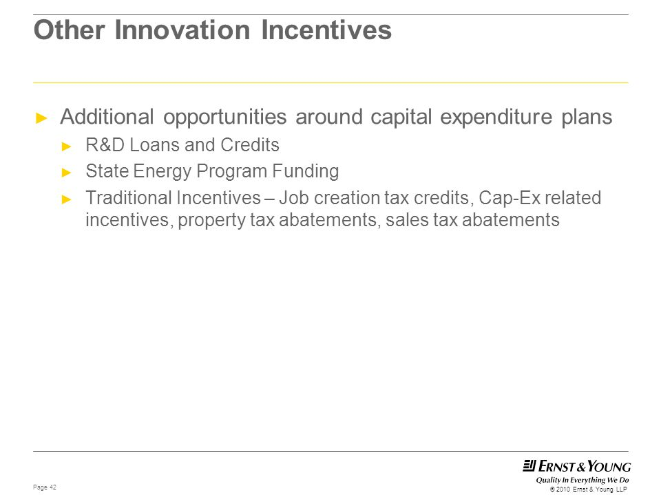 Other Innovation Incentives