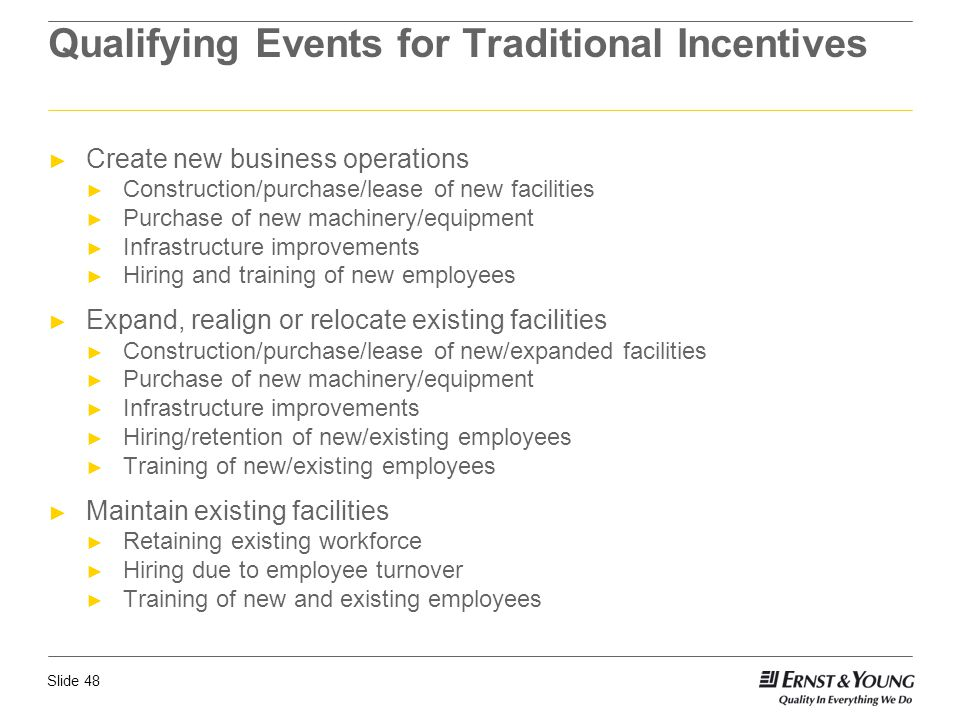 Qualifying Events for Traditional Incentives