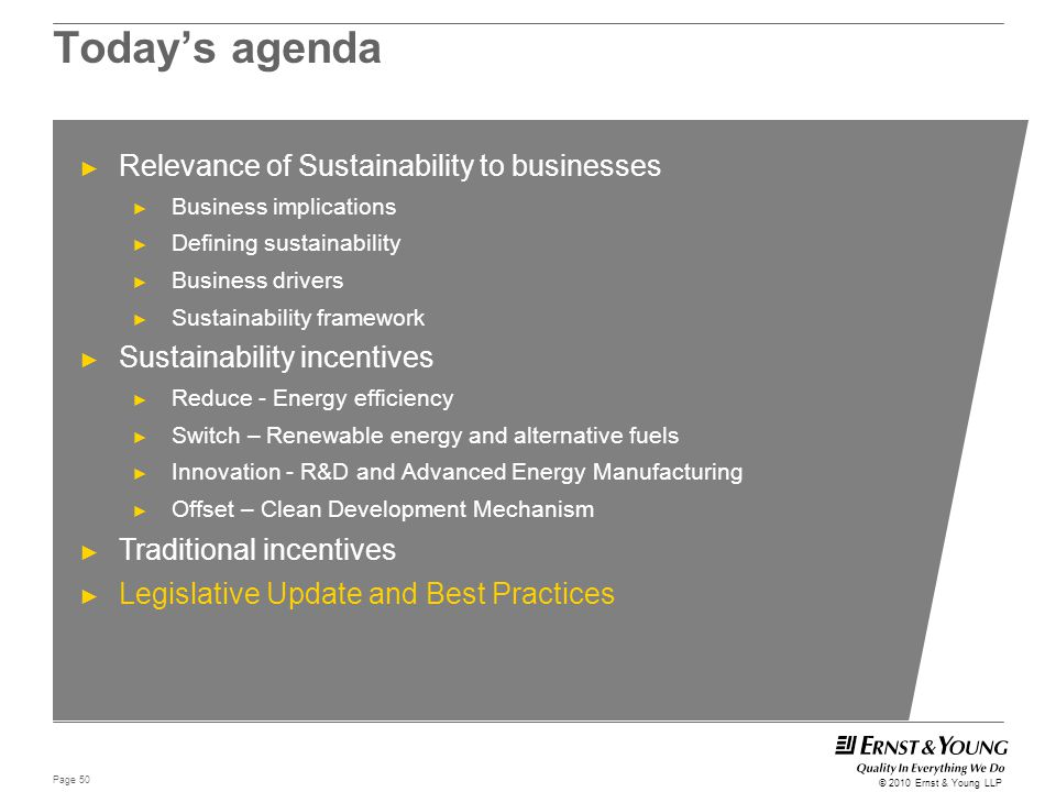 Today's agenda Relevance of Sustainability to businesses