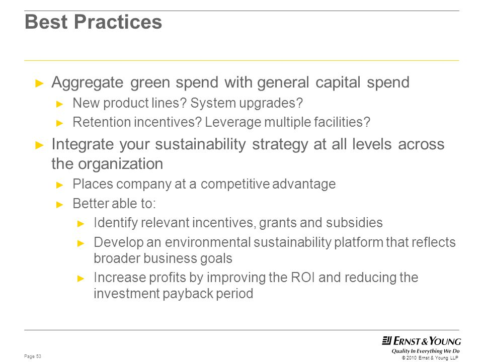 Best Practices Aggregate green spend with general capital spend