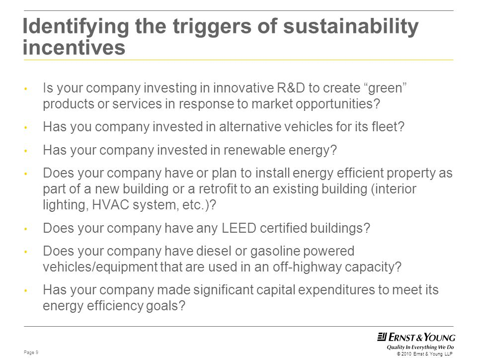 Identifying the triggers of sustainability incentives
