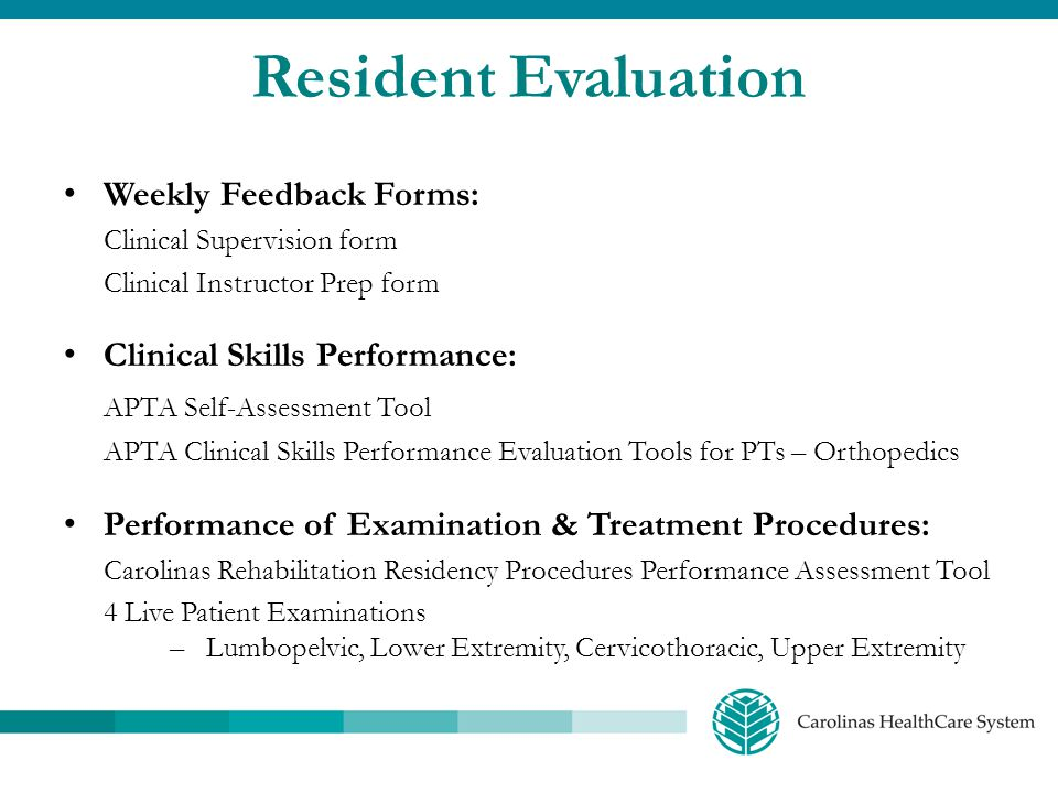 Resident Evaluation Weekly Feedback Forms: