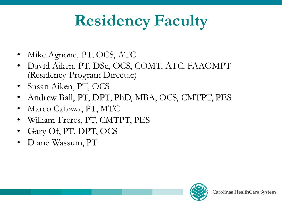 Residency Faculty Mike Agnone, PT, OCS, ATC