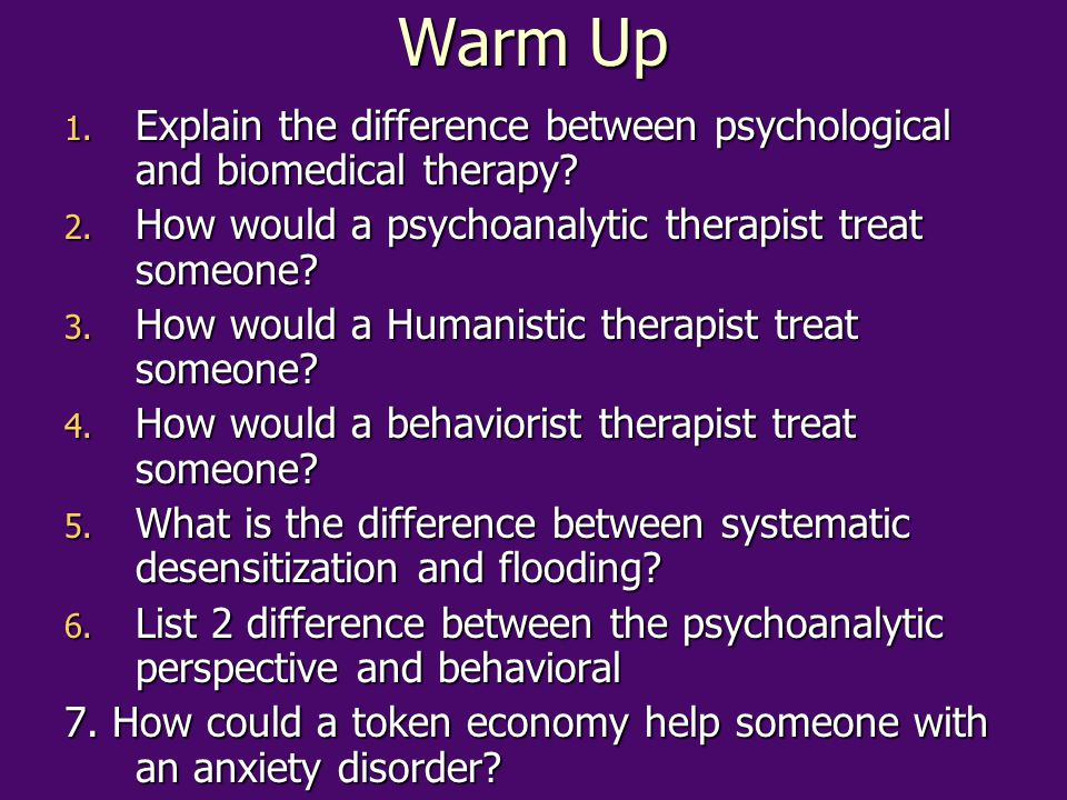 Warm Up Explain the difference between psychological and biomedical therapy How would a psychoanalytic therapist treat someone