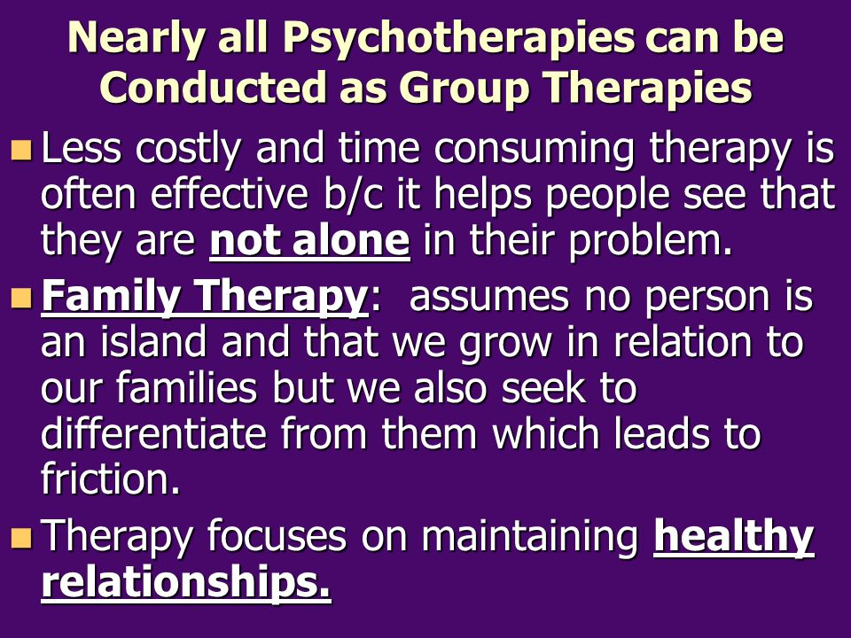 Nearly all Psychotherapies can be Conducted as Group Therapies