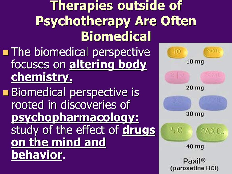Therapies outside of Psychotherapy Are Often Biomedical