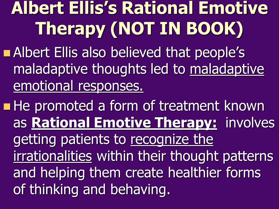 Albert Ellis's Rational Emotive Therapy (NOT IN BOOK)
