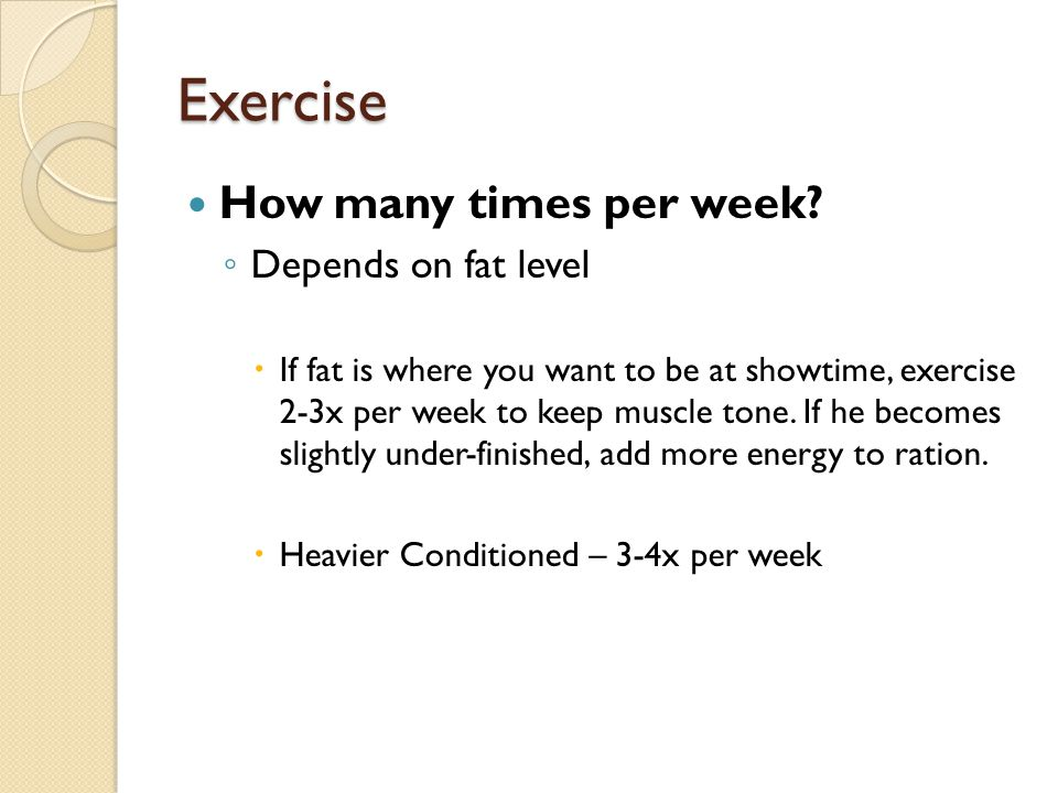 Exercise How many times per week Depends on fat level