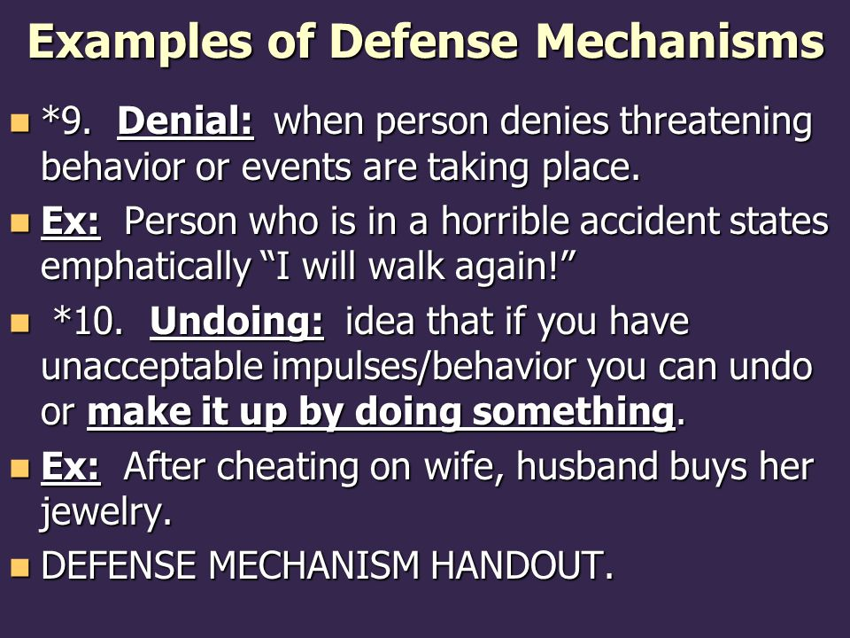 Examples of Defense Mechanisms