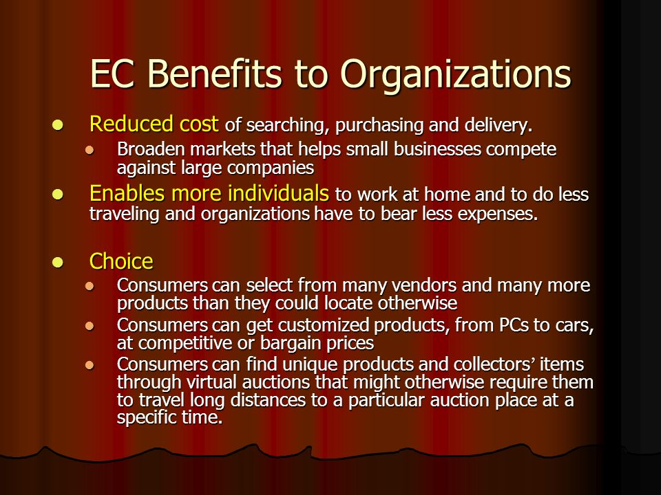 EC Benefits to Organizations